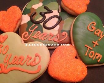Camo Hearts | Camouflage Anniversay | Hunting theme | John Deere | Custom Decorated Sugar Cookies | Hearts