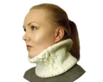 Valkoinen kauluri - luonnonvalkoinen merinovilla kauluri - villa kauluri - white neck warmer - merino wool neck warmer