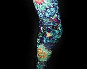 SACRED GEOMETRY LEGGINGS Psychedelic Clothing Festival Leggings Yoga Pants Psytrance Clothing Womens Rave Clothing Hippy Leggings Green Blue