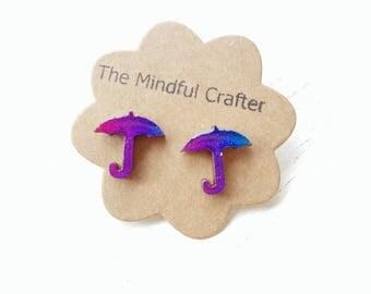 Umbrella earrings.  Cosmic umbrella earrings. Umbrella  jewellery. Metallic earrings rainy day jewellery. Umbrella jewelry. Weather Earrings