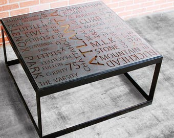 Coffee Table, Industrial Coffee Table, Typography Art, Coffee Table, Atlanta, Modern Table, Furniture, Square Coffee Table - FREE Shipping