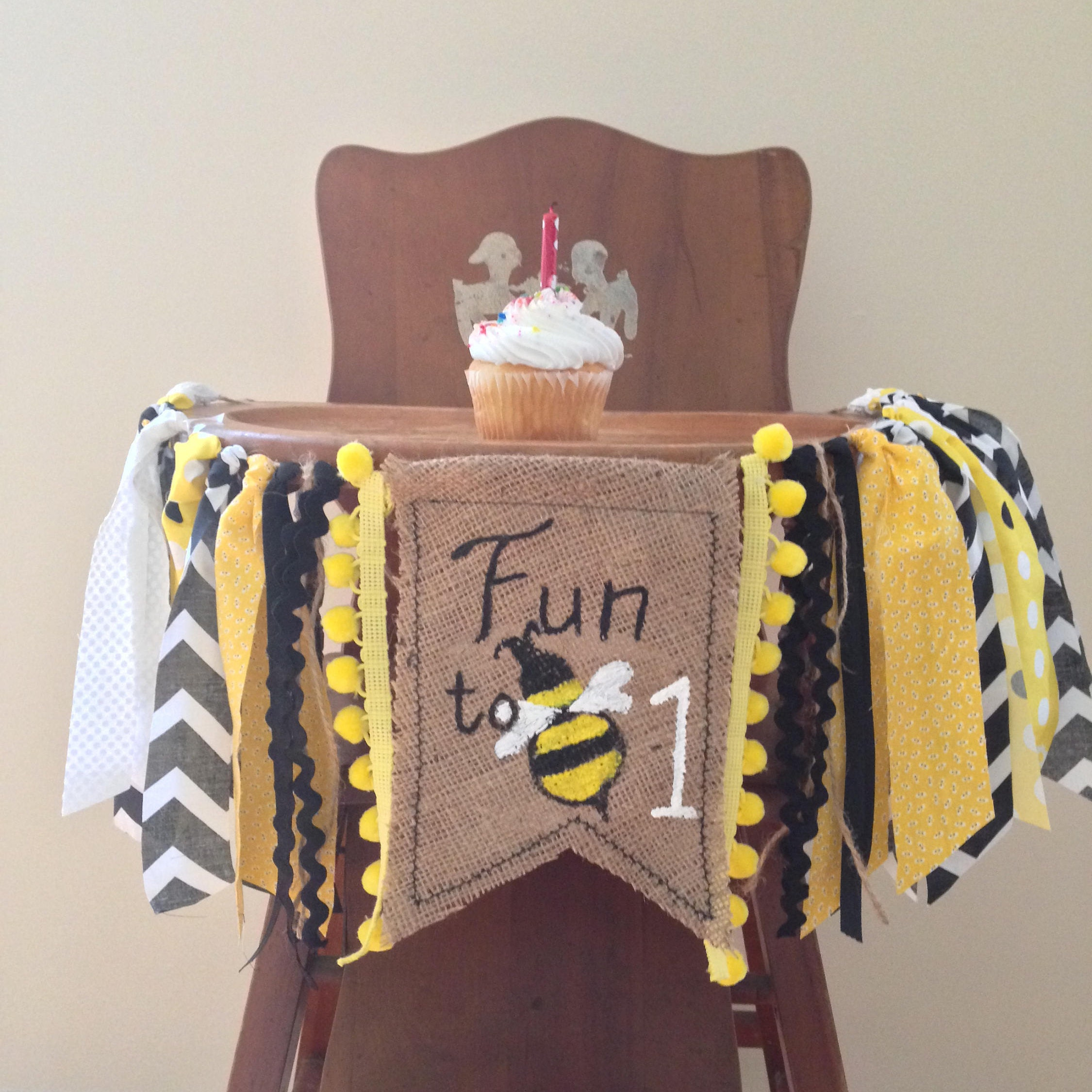 Bumble Bee First Birthday High Chair Banner/Fun To Bee