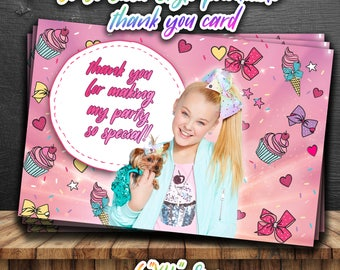 JOJO SIWA thank you CARDS,JoJo Siwa birthday Party Favors,JoJo style Favor,Cute girly instant download,bow style tags,JoJo printable cards