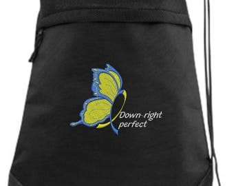 Down Syndrome Drawstring Bag/ Down Syndrom Cinch Bag/ Embroidered Down Syndrome Bag/ Down Right Perfect Down Syndrome Bag