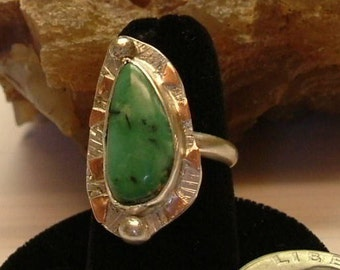 Variquoise Ring Sterling Silver OOAK Copper Variscite Turquoise Large Boho Mixed Metals Copper Accents Statement Ring Size 7 1/2 Ring  077G