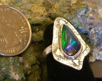 Ethiopian Fire Opal Ring Sterling Silver Size 6 OOAK Statement Ring Rare Broad Flash Green Blue Red Purple Fire Statement Jewelry 291G