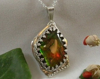 Ammolite Pendant Sterling Silver OOAK Dragon Shield Pendant Large Chunky Utah Gem Statement Pendant Red Green and Yellow Gem Stone 294 G