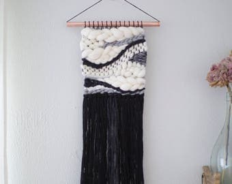 High contrast monochrome wall hanging \\ Weave \\ MTO \\ woven wall hanging \\ tapestry \\ handwoven wall art \\ white nursery decor