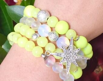 Sunburst stack Bracelets Beaded Bracelets Layering Bracelets Stretch Bracelets