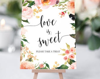 Printable Love is Sweet Sign. Wedding Cards Sign, Gold Bridal Shower Sign, Gift Table Sign,  Wedding Signs - Love is Sweet Take a Treat Sign