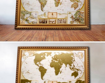 Travel Gift For Him - Scratch World Map Push Pin, Personalized journal travel map scratch off, USA is devided into the states, Travel poster
