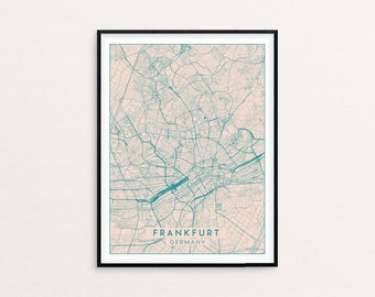 Frankfurt Blush Pink City Map Print, Clean Contemporary poster fit for Ikea frame 50x70cm, gift art him her, Anniversary personalized
