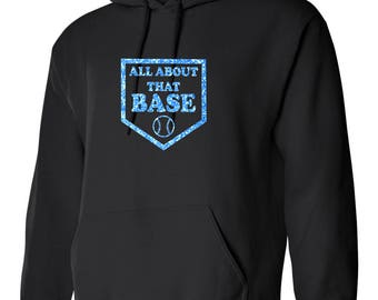 Glitter Baseball Home Plate Hoodie-Custom Blue Glitter All About That Base design