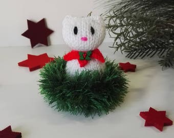 Hand Knitted Cat, Christmas Present, Gift for Her, Home Decoration, Stuffed Animal