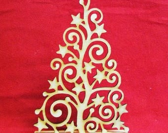 Decorative Christmas tree with stars / Laser cut
