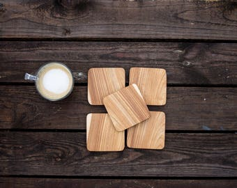Solid wood coaster 86mm (set of 5)