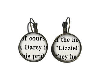 Darcy and Lizzie Earrings, Pride and Prejudice Earrings, Jane Austen Jewelry, Book Page Earrings, Book Lover Literary Drop Earrings