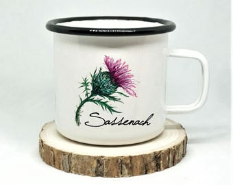 Sassenach Enamel Mug, Scottish Thistle Mug, Campfire Mug, Highlands Mug, Scotland Highlander Mug