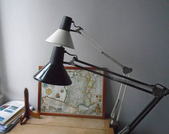 Architect lamp with white or black metal. Lamp industrial made in France. Vintage. Foldable lamp - desk lamp