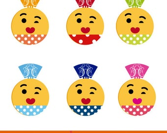 Set of six woman emoticons dressed in flamenco, flamenco emoticons clipart, flamenco dress with polka dots.