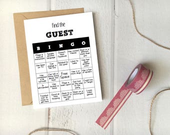 "Party Game ""Find the Guest Bingo"" Printable Template / 5x7 Card / Editable Instant Download / Funny DIY Host Activity"
