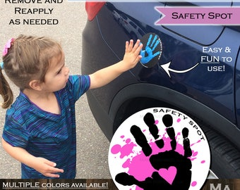 Safety Spot SPLAT Kids Hand Car Magnet/ Toddler Child Handprint Car/ Kids Car Safety Parking Lot Safety Handprint Safe Spot to Stand WHITE