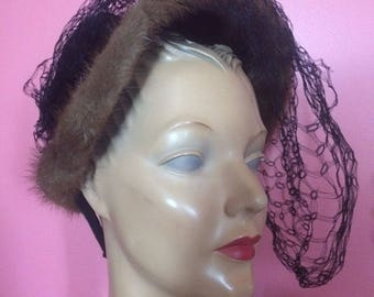 1940s Mink Trimmed Bonnet Hat