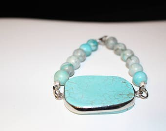 solid rectangle turquiose with dyed round beads