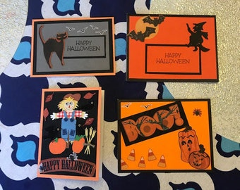 Halloween Cards and Envelopes - Set of 4 - FREE SHIPPING