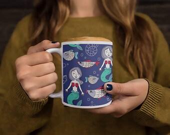 Mermaids Mug Mermaid Pattern Coffee Mug Cute Mermaids And The Sea Mug Mermaids Pattern Coffee Mug Dorm Decor Witty Novelty