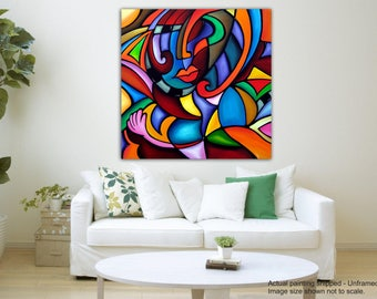 Tamatina Canvas Art - Colorful Faces - Modern Art - Giclée Art - Unframed - Size 30 inches X 30 inches.