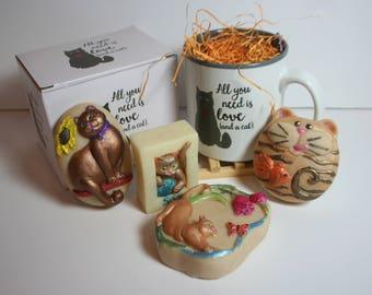 Cat Themed Hand Made Soap and Cat Mug