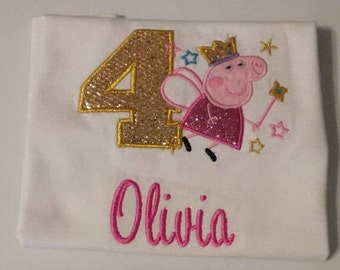 Personalized Embroidered Birthday Peppa Pig Shirt