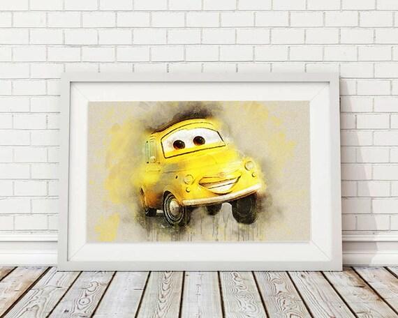 Luigi print Pixar Cars Wall Art Disney Poster Cars waterolor