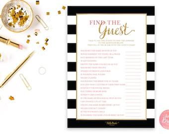 Find the Guest Bridal Shower Game - Black and Gold - Bridal Shower Game - Instant Download - BW001