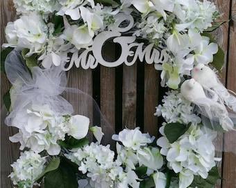Wedding Wreath-Floral Bridal Wreath-Wedding Wreath For Door-Wedding Decoration- Bridal Shower Decoration-Bridal Shower Floral-Bridal Gift