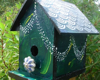 Whimsy Way Cottage | Birdhouse | Outdoor | Roof Stencil | Green w/White Details | Whimsical | Fairy Lites | Twinkle Lights | sale!