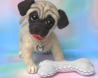 Needle felted Pug. Realistic OOAK dog!