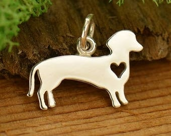 Sterling Silver Dachshund Charm - Weiner Dog Charm - Make your own charm necklace - Charm it Yourself