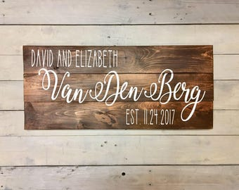 Custom Married Couples Wood Sign | Engagment Sign | Anniversary Sign | Wedding Date Sign | Couples Names Sign