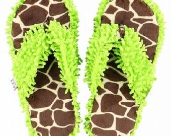 It's Been A Looong Day Green Giraffe Spa Flip Flop Slippers