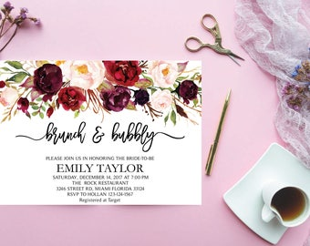 Brunch and Bubbly, Floral Bridal Shower Invitation, Bridal Brunch, Instant Download, Flower Bridal Card, Boho Bridal Brunch, Printable  BB04