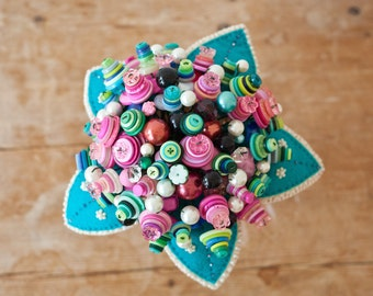 Button Bouquet with beaded felt leaves