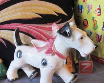 1950s vintage ceramic pottery puppy dog figurine