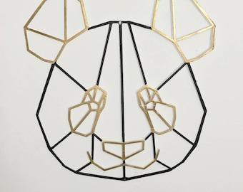 Geometric Modern Panda Wall Art, 3D Printed, Animal Wall Art