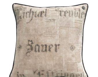 "Antique German Grain Sack Pillow from 1911 -  22"" x 22"""