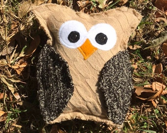 Owl decor, Handmade stuffed toy, Gifts for kids, Up-cycled Sweater toy, Christmas gifts