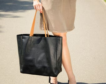 Black large tote, leather tote bag, black leather tote, slouchy leather tote, Tote bag leather, Leather tote woman, Leather Bag - TORINO Bag