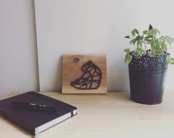Geometric bear thread stretched on wood, geometric bear string art, nail art, wall decor, gift tables wall, gift, origami