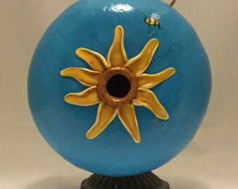 Painted Canteen Gourd Birdhouse with Sculpted Sunflower